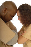 Butting heads. Couple facing relationship difficulties and both being stubborn about it Royalty Free Stock Image