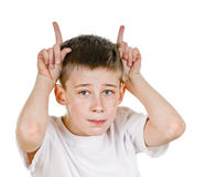 Butting. Young bot shows butting sign on white background Stock Photography