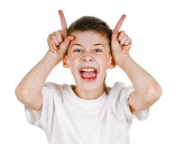 Butting. Young bot shows butting sign on white background Royalty Free Stock Image