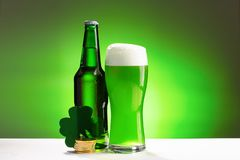 Buttle och exponeringsglas av nytt grönt kallt öl Begrepp för Sts Patrick dag royaltyfria bilder