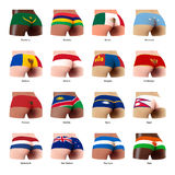 Buttock with flag. Buttocks of  woman with flag M-N Stock Photos