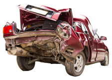 Buttocks red car accident. Isolates buttocks red car suffered major damage from an accident Royalty Free Stock Images