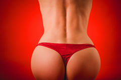 Buttocks of a woman in red panties Royalty Free Stock Photo