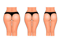 Buttocks of women. weight loss. fitness. comparison Stock Images