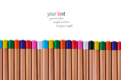 Buttom multi color pencil Royalty Free Stock Photography
