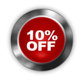 Button 10% off. 3d render. Red button 10% off. 3d render Stock Illustration