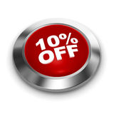 Button 10% off. 3d render Stock Images