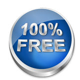 Button 100% Free. A shiny blue vector button says that something is 100% free. All on white background Stock Photo
