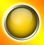 Button. Yellow button  over orange background. abstract illustration Stock Photo