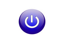 Button. The big dark blue button designating inclusion or the beginning of work Royalty Free Stock Photography