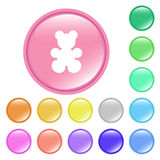 Button. Web buttons in different colors with bear icon Royalty Free Stock Photography