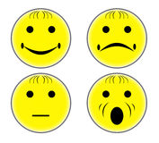 Button. Smiley icons or badge for describing satisfaction level royalty free illustration