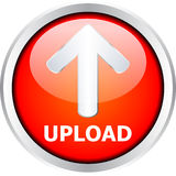 Button. Red UPLOAD button isolated on white background Royalty Free Stock Photos