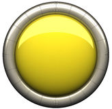 Button. Shiny yellow button isolated on white. 3d render vector illustration