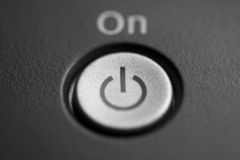 On button. Ink printer, macro Stock Photography