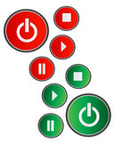 Button. Red green color white background Stock Image