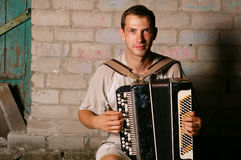 Button accordion player Stock Photography
