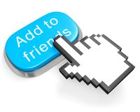 Button Add to friends and hand cursor Royalty Free Stock Photo