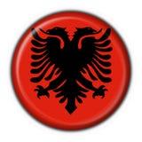 button albanian flagi okrągły kształt Fotografia Stock
