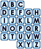 Button alphabet. Complete alphabet set of blue backlit buttons with letters Royalty Free Stock Photography