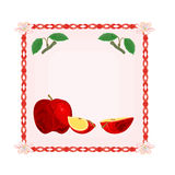 Button apple with leaves Vector Royalty Free Stock Photo