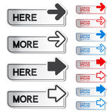 Button with arrow - here, more stickers Stock Images