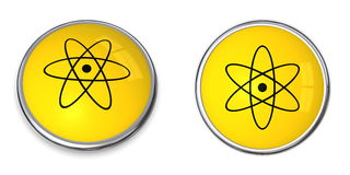 Button Atomic/Nuclear Symbol Royalty Free Stock Photos