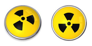 Button Atomic/Nuclear Symbol Royalty Free Stock Image