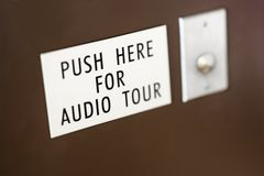 Button for audio tour. Stock Photo