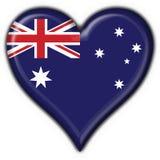 button australijskiego flagi serce Obrazy Royalty Free