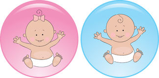 Button baby boy and girl Stock Image