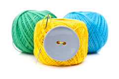 Button and ball yarn Stock Image
