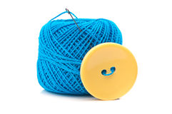 Button and ball yarn Stock Photography