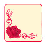 Button banner business card roses and ornaments sq Stock Photo