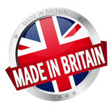 Button with Banner MADE IN BRITAIN stock illustration
