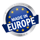 Button with Banner MADE IN EUROPE Stock Image