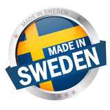 Button with Banner MADE IN SWEDEN Stock Image