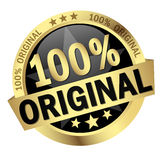 Button with Banner 100% Original. Colored button with banner 100 % Original royalty free illustration