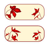 Button banner rectangle with red flowers Stock Image