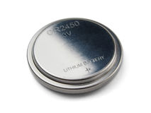 Button battery. Lithium button cell battery isolated on white Stock Photo