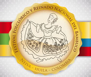Button with Beautiful Woman Dancing Bambuco for Colombian Folkloric Festival, Vector Illustration Royalty Free Stock Image