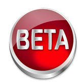 Button Beta Status. A shiny red vector button says that something is still in Beta status. All on white background Stock Photo