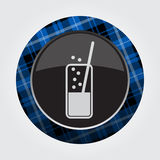 Button with blue, black tartan - carbonated drink Stock Photo