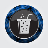 Button blue, black tartan-carbonated drink, straw Royalty Free Stock Photo