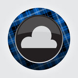 Button blue, black tartan - cloud, cloudy icon Royalty Free Stock Images