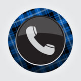 Button blue, black tartan - old telephone handset Stock Photography