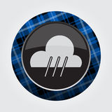 Button with blue, black tartan - rain, rainy icon Royalty Free Stock Photography
