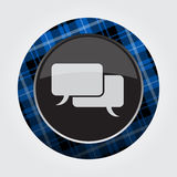 Button with blue, black tartan, speech bubbles Stock Image