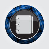 Button blue, black tartan - spiral notepad, pencil Stock Photography