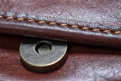 Button brown leather bag Royalty Free Stock Photos